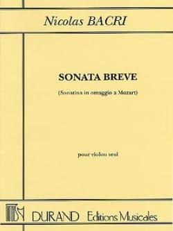 Nicolas Bacri - Sonata Breve op. 45 - Partition - di-arezzo.fr