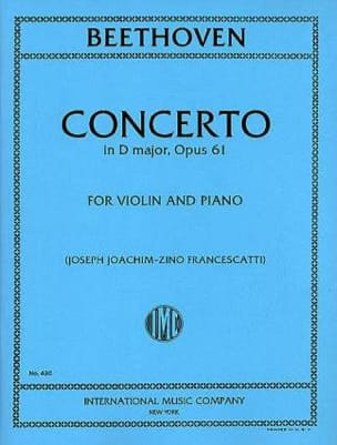 BEETHOVEN - Concerto in D major, op. 61 - Violin - Partition - di-arezzo.fr