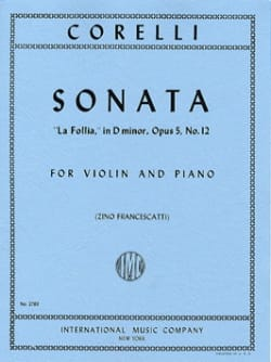 CORELLI - Sonate La Follia op. 5 n° 12 - Partition - di-arezzo.fr