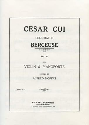 César Cui - Berceuse op. 20 - Partition - di-arezzo.fr
