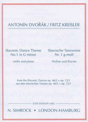 Dvorak Antonin / Kreisler Fritz - Slavonic dance-themes n° 1 in G minor - Partition - di-arezzo.fr