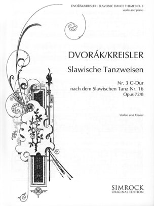 Dvorak Antonin / Kreisler Fritz - Slavonic dance-themes n° 3 in G major - Partition - di-arezzo.fr