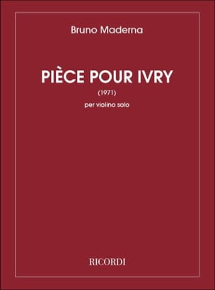 Bruno Maderna - Piece for Ivry 1971 - Sheet Music - di-arezzo.com