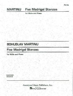 Bohuslav Martinu - 5 Madrigal Stanzas - Partition - di-arezzo.fr