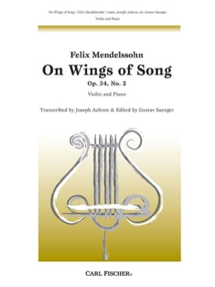 Bartholdy Felix Mendelssohn - On Wings of Song op. 34 n° 2 - Partition - di-arezzo.fr