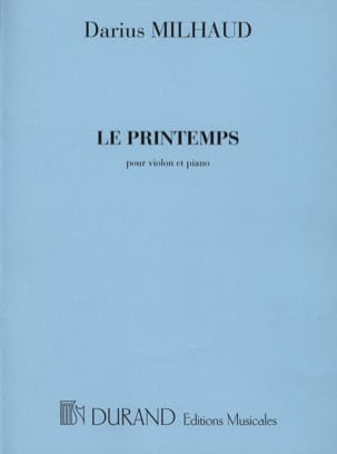 Le printemps MILHAUD Partition Violon - laflutedepan