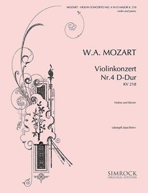 MOZART - Concerto Violon n° 4 ré majeur KV 218 (Joachim) - Partition - di-arezzo.fr