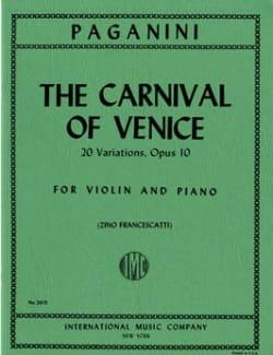 Niccolò Paganini - Le Carnaval de Venise - Violon et Piano - Partition - di-arezzo.fr