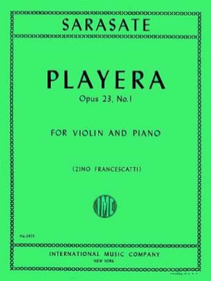 Pablo de Sarasate - Playera op. 23 n° 1 - Partition - di-arezzo.fr