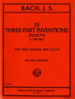 BACH - 15 Three-part inventions - 2 Violins cello - Parts - Partition - di-arezzo.fr