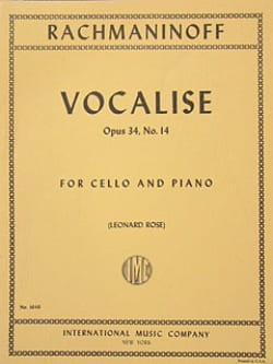 Vocalise op. 34 n° 14 - Cello RACHMANINOV Partition laflutedepan