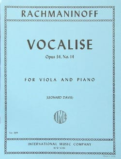 Vocalise op. 34 n° 14 - Viola RACHMANINOV Partition laflutedepan