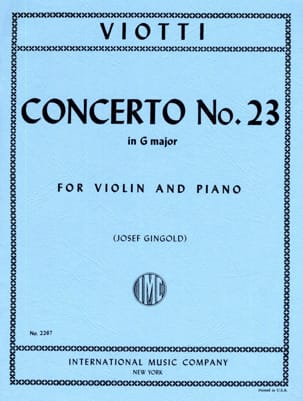 Concerto n° 23 in G Major VIOTTI Partition Violon - laflutedepan
