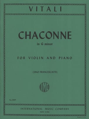Chaconne in G minor Tommaso Antonio Vitali Partition laflutedepan