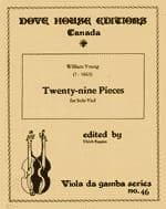 William Young - Twenty-nine pieces - solo viole - Partition - di-arezzo.fr