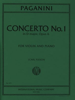 Concerto n° 1 in D major, op. 6 Flesch PAGANINI Partition laflutedepan