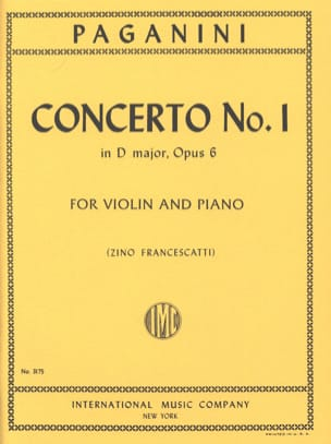 Niccolò Paganini - Concerto No. 1 in D major, op. 6 Francescatti - Sheet Music - di-arezzo.co.uk