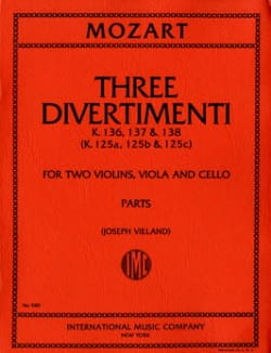 3 Divertimenti KV 136, 137,138 - String quartet- Parts - laflutedepan.com