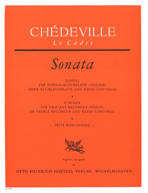 Nicolas (Le cadet) Chédeville - Sonata D-Moll – Sopranblockflöte U. Bc - Partition - di-arezzo.fr