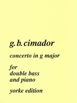 Giovanni Battista Cimador - Concerto in G major – Double bass - Partition - di-arezzo.fr