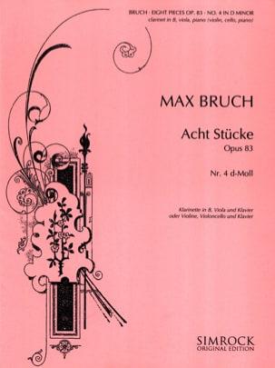 Max Bruch - 8 Stücke op. 83, n° 4 d-moll –Klarinette Viola Klarinette - Partition - di-arezzo.fr