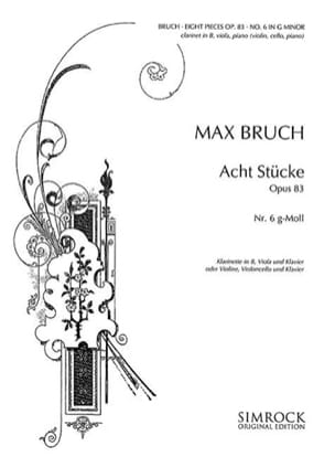 Max Bruch - 8 Stücke op. 83, no. 6 g-moll - Klarinette Viola Klavier - Sheet Music - di-arezzo.co.uk