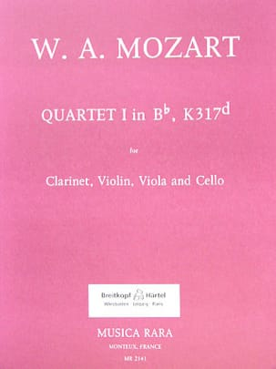 Quartet n° 1 in Bb, KV 317d - Clarinet violin viola cello - laflutedepan.com