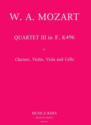 MOZART - Quartet No. 3 in F, KV 496- violin clarinet viola cello - Sheet Music - di-arezzo.co.uk