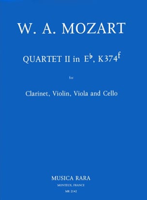 MOZART - Quartet n° 2 in Eb, KV 374f – Clarinet violin viola cello - Partition - di-arezzo.fr