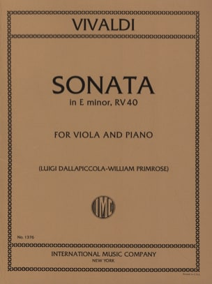 VIVALDI - Sonata in E minor RV 40 - Viola - Sheet Music - di-arezzo.co.uk