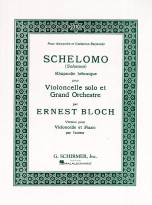 Ernest Bloch - Schelomo - Violoncelle et Piano - Partition - di-arezzo.fr