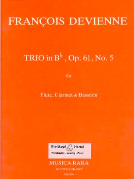 François Devienne - Trio in Bb op. 61 n° 5 –Flute clarinet bassoon - Parts - Partition - di-arezzo.fr