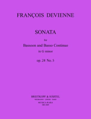 François Devienne - Sonata in Sol Minor - Bassoon and BC - Sheet Music - di-arezzo.co.uk