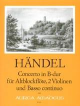 HAENDEL - Concerto in B-Dur -Altblockflöte 2 Violinen und BC - Partition - di-arezzo.fr