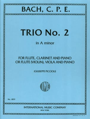 Carl Philipp Emanuel Bach - Trio n° 2 a minor - Flute violin clarinet viola piano - Partition - di-arezzo.fr