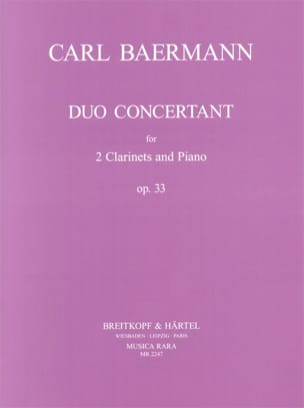 Carl Baermann - Duo concertant op. 33 - 2 Clarinets piano - Partition - di-arezzo.fr