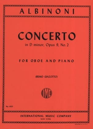 Tomaso Albinoni - Concerto in D minor op. 9 n° 2 – Oboe piano - Partition - di-arezzo.fr