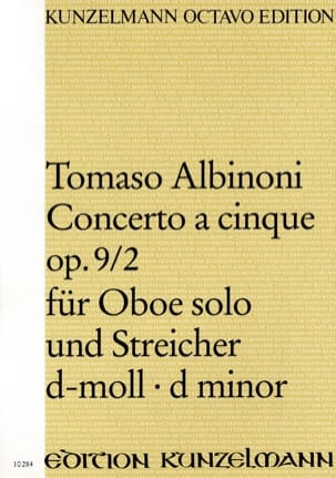 Tomaso Albinoni - Concerto a cinque op. 9/2 für Oboe solo und Streicher d-moll – Conducteur - Partition - di-arezzo.fr