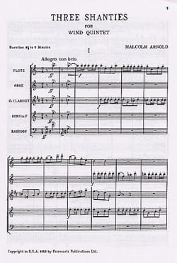 Malcolm Arnold - 3 Shanties for Wind Quintet - Score - Partition - di-arezzo.fr