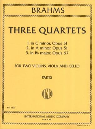 3 Quartets op. 51 n° 1-2, op. 67 -Parts BRAHMS Partition laflutedepan