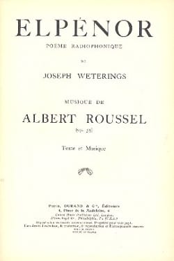Albert Roussel - elpenor - Sheet Music - di-arezzo.co.uk