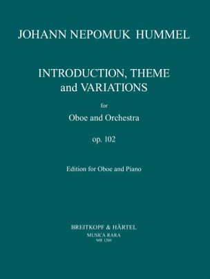 HUMMEL - Introduction, Theme and Variations op. 102 - Oboe - Partition - di-arezzo.fr
