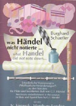 HAENDEL - Was Händel nicht notierte - Flöte und Bc - Partition - di-arezzo.fr
