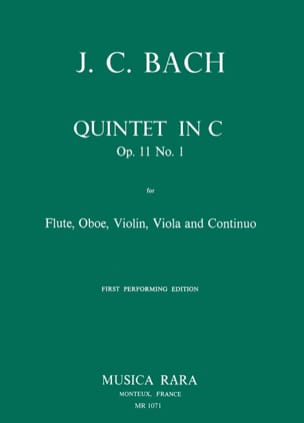 Johann Christian Bach - Quintet in C op. 11 n° 1 - Flute oboe violin viola Bc - Partition - di-arezzo.fr