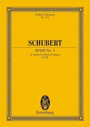 SCHUBERT - Messe Nr. 5 As-Dur D. 678 - Partitur - Partition - di-arezzo.fr