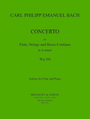 Carl Philipp Emanuel Bach - Concerto in A minor Wq 166 - Flute piano - Partition - di-arezzo.fr