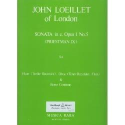 Jean-Baptiste (John) de Londres Loeillet - Sonata in c minor op. 1 n° 5 –Flute oboe Bc - Partition - di-arezzo.fr