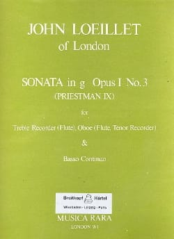 Sonata in g minor op. 1 n° 3 - Treble recorder Oboe Bc laflutedepan