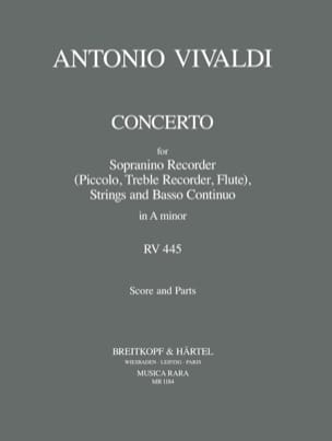 Concerto in A minor P. 83 - Sopranino recorder strings Bc laflutedepan