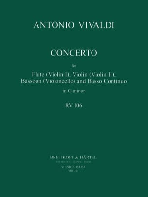 VIVALDI - Concerto In G Minor Rv 106 P. 404 - Flute Violin Bassoon Bc - Partition - di-arezzo.fr